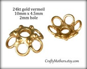 TAKE10 for 10% off! TWO Bali 24kt Gold Vermeil Open-Work Bead Caps, 4.5mm x 10mm, 2mm hole, bright gold, Artisan-made