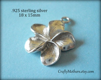 Use TAKE10 for 10% off! 1 piece Bali Sterling Silver Plumeria Flower Charm, 18mm x 15mm, BRIGHT, bridal jewelry