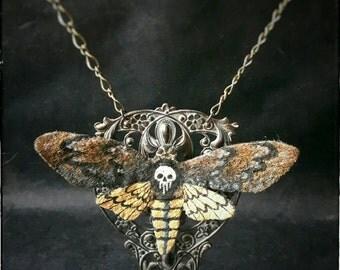 necklace - Deathhead moth - ooak, science, entomology, gothic,  victorian, neovictorian, mourning, bohemian, dark romance