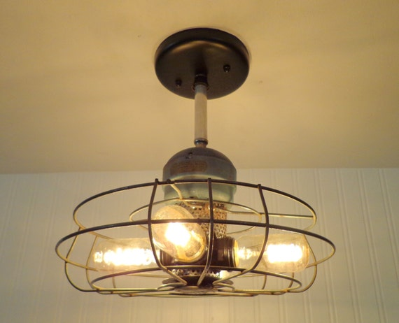 Mimar vintage fan cage ceiling light shown with by lampgoods for Repurpose ceiling fan motor