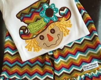 Baby Girl Thanksgiving Shirt, Girls Fall Shirt, Girls Thanksgiving Shirt,Girls Baby Girls Scarecrow Ruffle Pants and Applique Fall Set