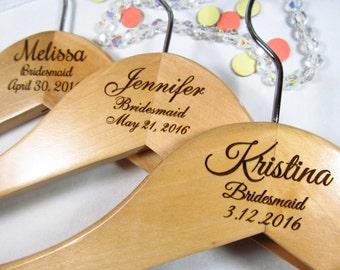 2 Personalized Hangars Engraved Wood Bridesmaid Maid of Honor Flower Girl Wedding Keepsake 3 Lines