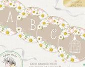 Daisy Letter Banner, Baby Shower, Birthday, Wedding, Nursery, Ready-to-Print, Letters A-Z plus Numbers & Dividers, Instant Download