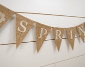 Burlap pennant banner, Spring bunting, burlap banner, spring banner, spring decor, flower banner, home decor, neutral decor