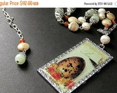 VALENTINE SALE Ostrich Egg Necklace. Bird Nest Necklace. Gemstone Necklace in Jasper, Jade, Carnelian Agate, and Fresh Water Pearl. Beaded N