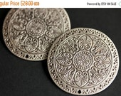 VALENTINE SALE Set of Two Stamped Silver Viking Brooches. Silver Apron Pins. Norse Brooch Set. Compass Mandala Shoulder Brooches. Norse Reen