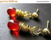VALENTINE SALE Blood Red Earrings. Gold Wire Wrapped Earrings - Teardrop Post Earring Backs. Handmade Jewelry by Gilliauna