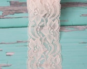Cream Ivory elastic lace 2 inch (Sold by the yard) stretch lace hair accessories Perfect for DIY Headbands crafts clothing garter champagne