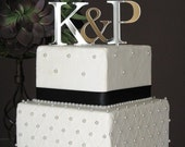 ON SALE Sale on Wedding Cake Toppers, Silver Two Initials Cake Topper for Wedding Cake, Monogram Cake Toppers, Personalized Cake Toppers