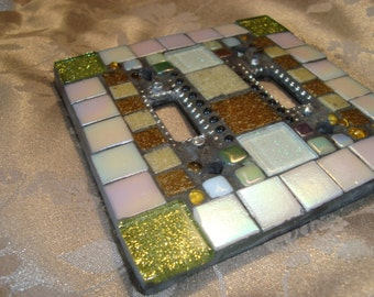 MOSAIC LIGHT SWITCH Plate Cover - Double, Wall Art, Wall Plate, Multicolor