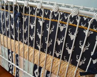 Navy Deer Aztec Crib Bedding- Arizona Arid Horizon, Baby Boy Bedding