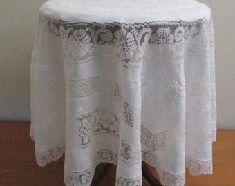 Vintage Round Tablecloth White on White Vintage Linen
