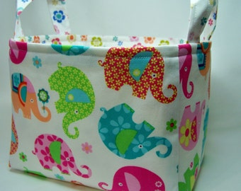 PK Fabric Basket in Elephant Romp - Storage Basket - Diaper Caddy - Ready To Ship - Reversible