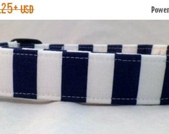ON SALE Nautical Navy Blue and Bright White Striped Dog Collar