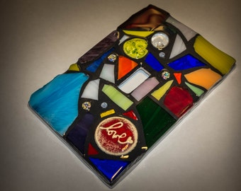 Mosaic Light Switch Plate Cover in RAINBOW color Mix - STAINED GLASS - Mixed Media - single, double, triple, outlet, or decora gfci - Unique
