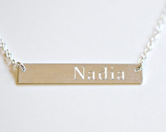 Engraved custom name bar necklace, personalized sterling silver bar, roman numeral necklace, wedding date, initials jewelry - Theresa