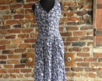 Vintage Laura Asheley Sundress, Floral Jumper, Purple Floral Print Sleeveless Dress 1990s Size Small, Boho Chic Clothing, 90s Grunge Style