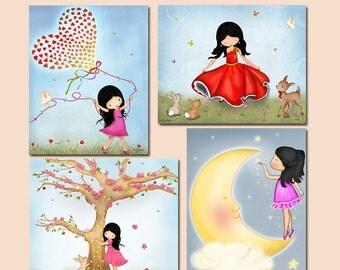 Set of 4 art prints posters for kids bedroom, wall art, room decor, illustration, art, drawing, prints for girls room, art decor, nursry art
