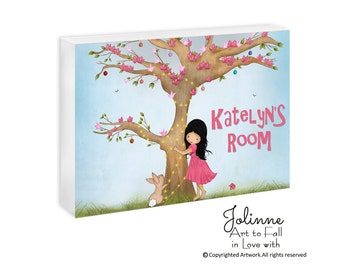 Girl and bunny personalized door sign, kids room art,door sign custom,door sign custom,nursery decor,name plaque for kids rooms,girls signs