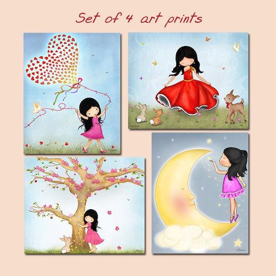 Set Of 4 Art Prints Posters For Kids Bedroom Wall Art Room