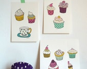 Cards Cupcakes illustrations kitchen art print illustration cards - set of 4 illustrations size 4x6""