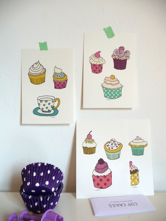 Cards Cupcakes - illustrations kitchen - art print illustration cards - set of 4 illustrations - size 4 x 6 inch