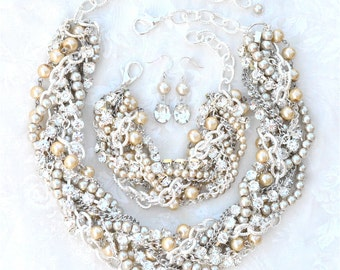 Chunky Wedding Necklace Champagne Bridal Statement Necklace Rhinestone Necklace - Wedding jewelry - Rhinestone Pearl Wedding Necklace