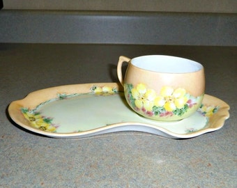 Sandwich Plate and Cup Lustreware with Wild Roses 1920s or 30s 9 inch long
