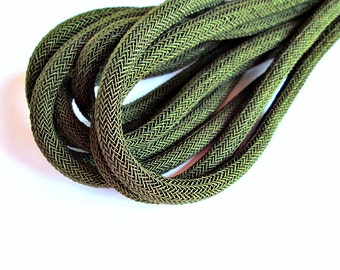 Braided silk cord, 8mm bookbinding rope, khaki green(1m)