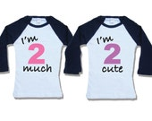 2 much 2 cute - twin 2nd birthday outfit - twin birthday shirt - Boy and Girl twin