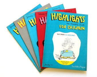 Highlights Magazine for Children 50s Set of 5 Unmarked / Vintage Activity Book for Children