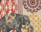 Suzani Elephant Caravan Fabric India Batik Collage Print Boho Patterned Elephants TT