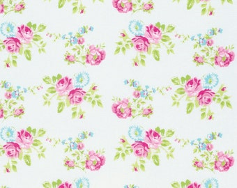 Zoey's Garden Fabric by Tanya Whelan Spring Floral Flowers Zoey Rose on White