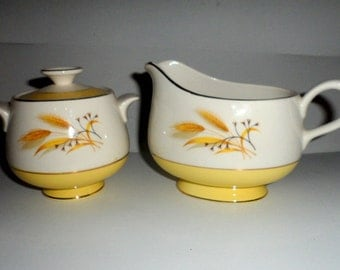 Vintage Cream and Sugar Bowl Set White with Yellow and Wheat Design Nice