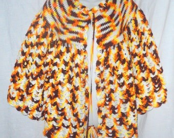 Vintage Crocheted Shawl with Pom Pom Tie Ends Orange Brown White Yellow Color Combo