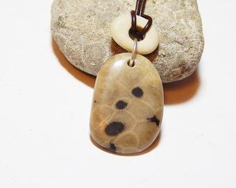 Petoskey Stone Necklace, Beach Stone Necklace, Adjustable Length, Arthritis Friendly, Michigan Stone jewelry