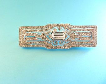 Exquisite  Art Deco Diamante Bar  Brooch - Italian origin in 800 silver & crystals  a timeless beauty-Clear cristals  bar brooch-Art.454/4-