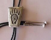 Silver Bolo Tie Bearprint Navajo Vintage