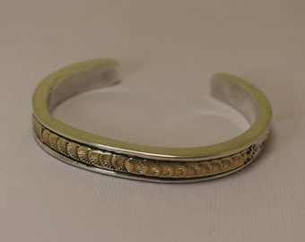 Native American Silver 14K Cuff Bracelet Tafoya