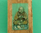 PEACEFUL BUDDHA Painting on Drift Wood by Susana Caban
