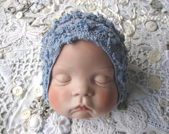 Sky Blue Crocheted Newborn Baby Bonnet, Vintage Doll Head, Hands. Sugar Britches Sleeping Baby Dated 1986, Handpainted