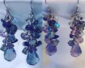 Unique Purple Fluorite Iolite Moonstone Labradorite sterling silver dangle earrings faceted chandelier cluster briolette rondelle rain