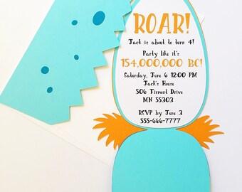 Dinosaur birthday invitation- boy birthday invitations, dinosaur invitation, dinosaur egg, dinosaur party, first birthday boy party, dino