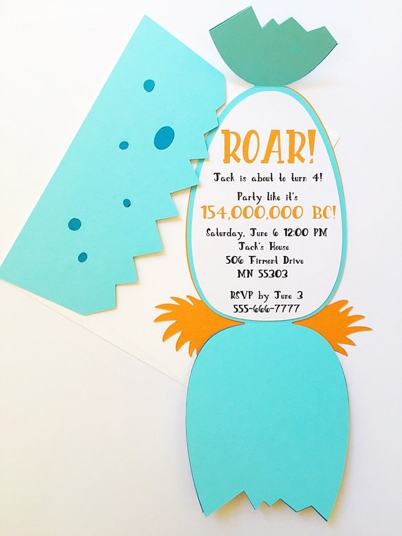 Dinosaur birthday invitation- boy birthday invitations, dinosaur invitation, dinosaur egg, dinosaur party, first birthday boy party, dino