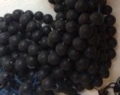 Vintage Mercury beads  black matte glass Made in Japan 10 mm Hollow glass beads light twilight black
