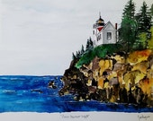 ORIGINAL painting watercolor Bass Harbor WATERCOLOR Maine Lighthouse