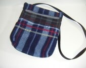 Sugar Glider, Bonding Pouch, Plaid Fleece, Blue Plaid Fleece, Zipper Closure, Ventilation Screen, Small Animal Pouch, CooperStudios