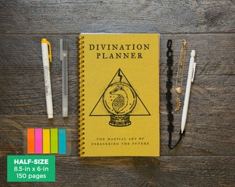 Divination Planner - Yellow / Weekly / Half-Size / 12 Months / Choose Your Layout (Vertical or Horizontal) / Pick Your Own Starting Month