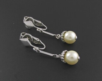 Avon Pearl Earrings, Avon Evening Splendor Earrings, Pearl Drop Earrings, Bridal Earrings, Silver Earrings, Pearl Dangle Earrings