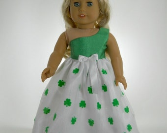 18 inch doll clothes made to fit dolls such as American Girl, One Shoulder Green St. Patrick's Day Dress, 02-0913